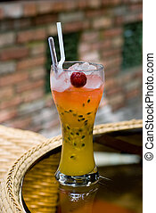 Passion Fruit Cocktail Drink - A glass of cocktail drink...