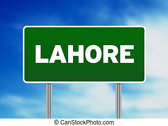 Green Road Sign - Lahore - Green Lahore highway sign on...