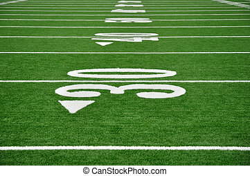 Thirty Yard Line on American Football Field - 30, 40, 50...