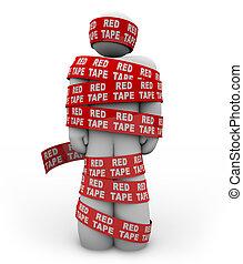 persona, envuelto, Arriba, rojo, cinta, burocracia, reglas,...