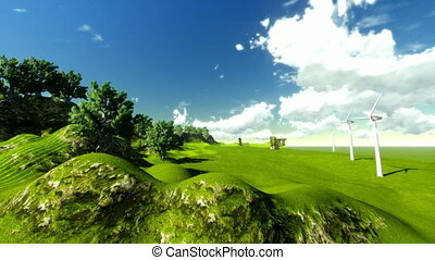 Green landscape and windmills