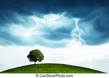 Storm and tree - Landscape with storm and tree