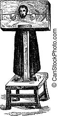 Pillory, after an ancient engraving, vintage engraving. -...