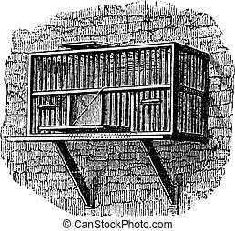 Area or a pigeon cage, vintage engraving.