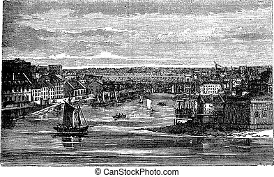 Penfeld, river, Brest, France, vintage engraving. - Penfeld...