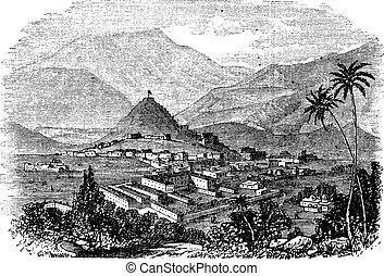 Kabul, city, Afghanistan, vintage engraving.
