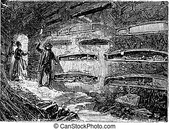 Catacombes and Saint Thraso Saint Saturninus , Rome, Italy vintage engraving