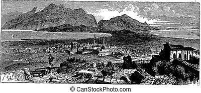 Acrocorinth in Corinth, Greece, vintage engraving -...
