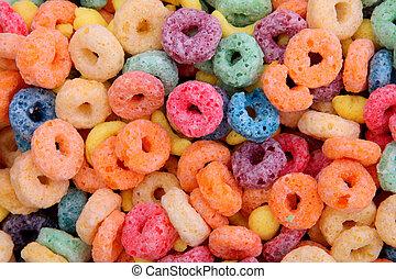 cereal - orange,blue,violet, yellow fruit cereal background...