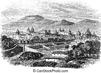 Cusco in Peru, vintage engraving