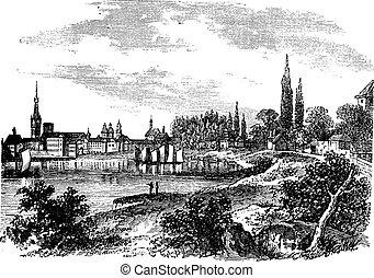 Dusseldorf in North Rhine-Westphalia, Germany, during the 1890s, vintage engraving. Old engraved illustration of Dusseldorf.