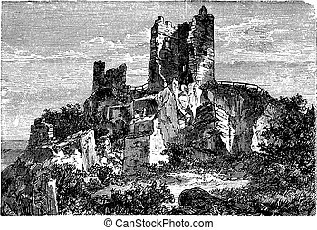 Ruin of Drachenfels Castle in Rhineland-Palatinate, Germany,...