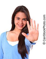 mulher, dizendo, parada, mão