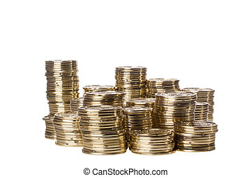 Stacks of Coins - Stacks of golden coins isolated on a white...