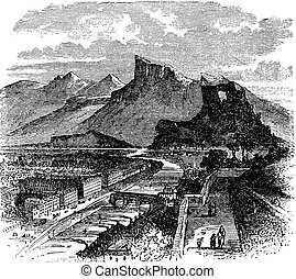 View of Grenoble, France vintage engraving
