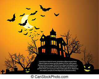 Halloween with haunted house, bats and pumpkin