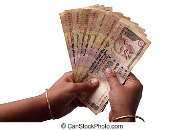 Woman counting indian rupees - Woman counting a stch of 500...