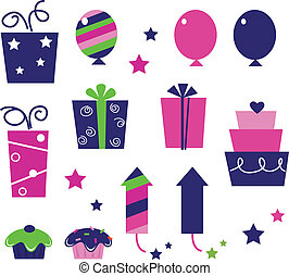 Cute icons collection in vibrant tones. Vector cartoon collection.