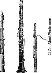 Flute, Clarinet, and Bassoon, vintage engraved illustration...