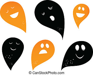 Ghost silhouettes isolated on white ( black and orange )