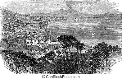 Naples in Campania, Italy, vintage engraved illustration...