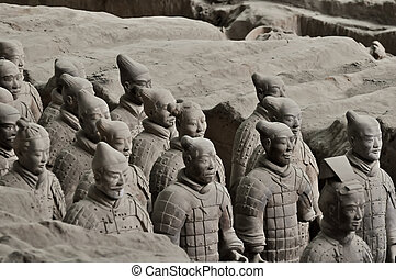 set of chinese terracotta warriors - an array of chinese...