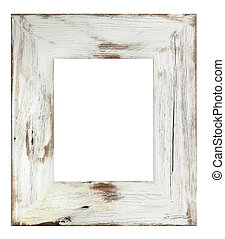 Picture Frame - Distressed white painted picture frame...