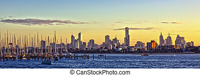 Melbourne Panorama - Melbourne, Australia, at dawn, viewed...