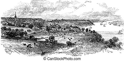 Natchez in Mississippi, USA, vintage engraved illustration