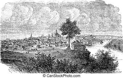 Nashville in Tennessee, USA, vintage engraved illustration