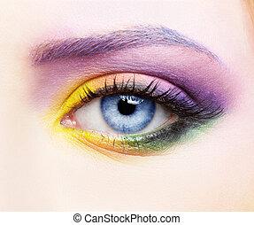 woman eye zone make up - close-up portrait of beautiful...