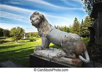 Park imperial lion - Imperial lion at the summer Pavlovsk...