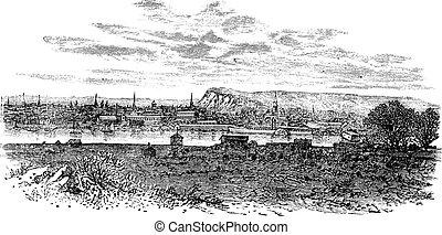 Newhaven in East Sussex, England, UK, vintage engraved illustration