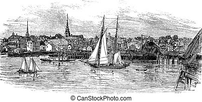 Newburyport in Massachusetts, USA, vintage engraved...