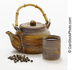 Chinese pearl jasmine green tea and pot - Chinese pearl...