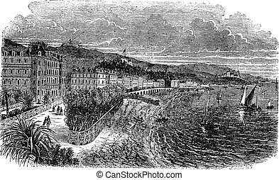 Promenade des Anglais in Nice, France, vintage engraved...