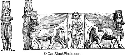 Relief Sculptures at the Entrance of Kuyunjik Palace Ruins, in Mosul, Iraq, vintage engraved illustration
