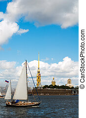 Yachts show under cloudy sky