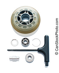 Skate wheel in parts - Roller skating wheel in parts and key...