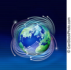 Optical fibres around planet Earth - Optical fibres speeding...