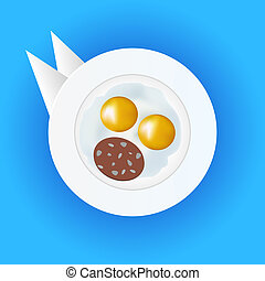 eggs and sausage on a plate