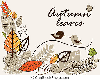 autumn leaves 2 - Vector autumn composition with falling...