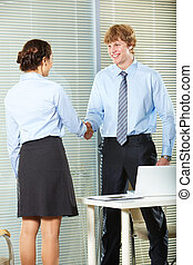Cooperation - Businesswoman and businessman shaking hands in...