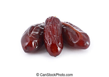 Three dates isolated on white background