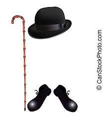 bamboo cane, bowler hat and boots on a white background