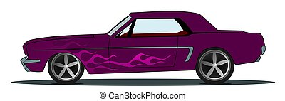 Horsepower - Illustration of a vintage muscle car with...