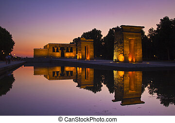 Templo de debod in Madrid, Spain - Sunset over the Templo de...