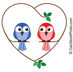 girl and boy birds - Valentine girl and boy birds sat on a...