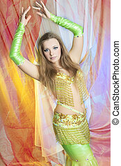 belly dancer in action - caucasian belly-dancer performing...
