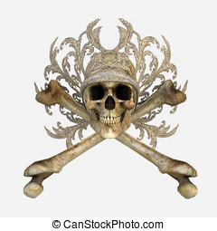 Skull and Cross Bones with jeweled crown Isolated coutout...